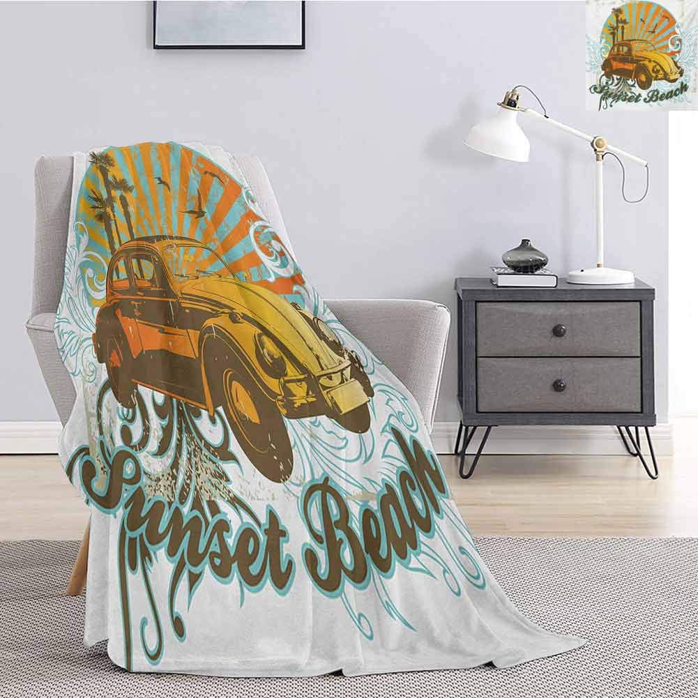 Cars Bedding Fleece Blanket Queen Size Summer Inspired Drawing with Retro Car Palm Trees Sunset Beach and Sun Rays Comfortable Soft Warm Large Blanket W51 x L60 Inch Amber Orange Aqua