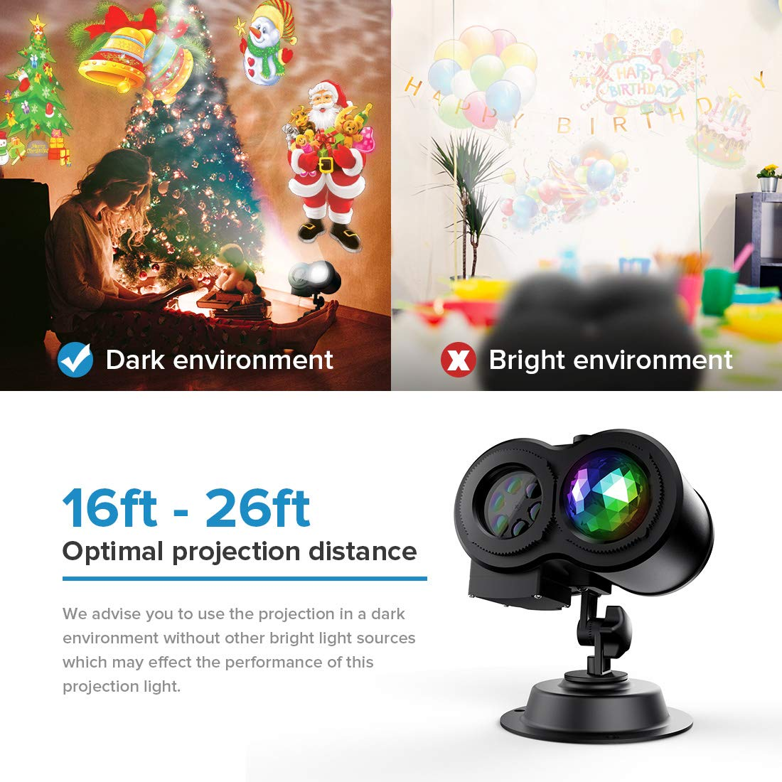 TAOCOCO Christmas Halloween Light Projector, Led Projection Light, 2 in 1 Outdoor/Indoor Decoration Holiday Lights for Party Decorative, Waterproof with 12 Slides Patterns Remote Controller
