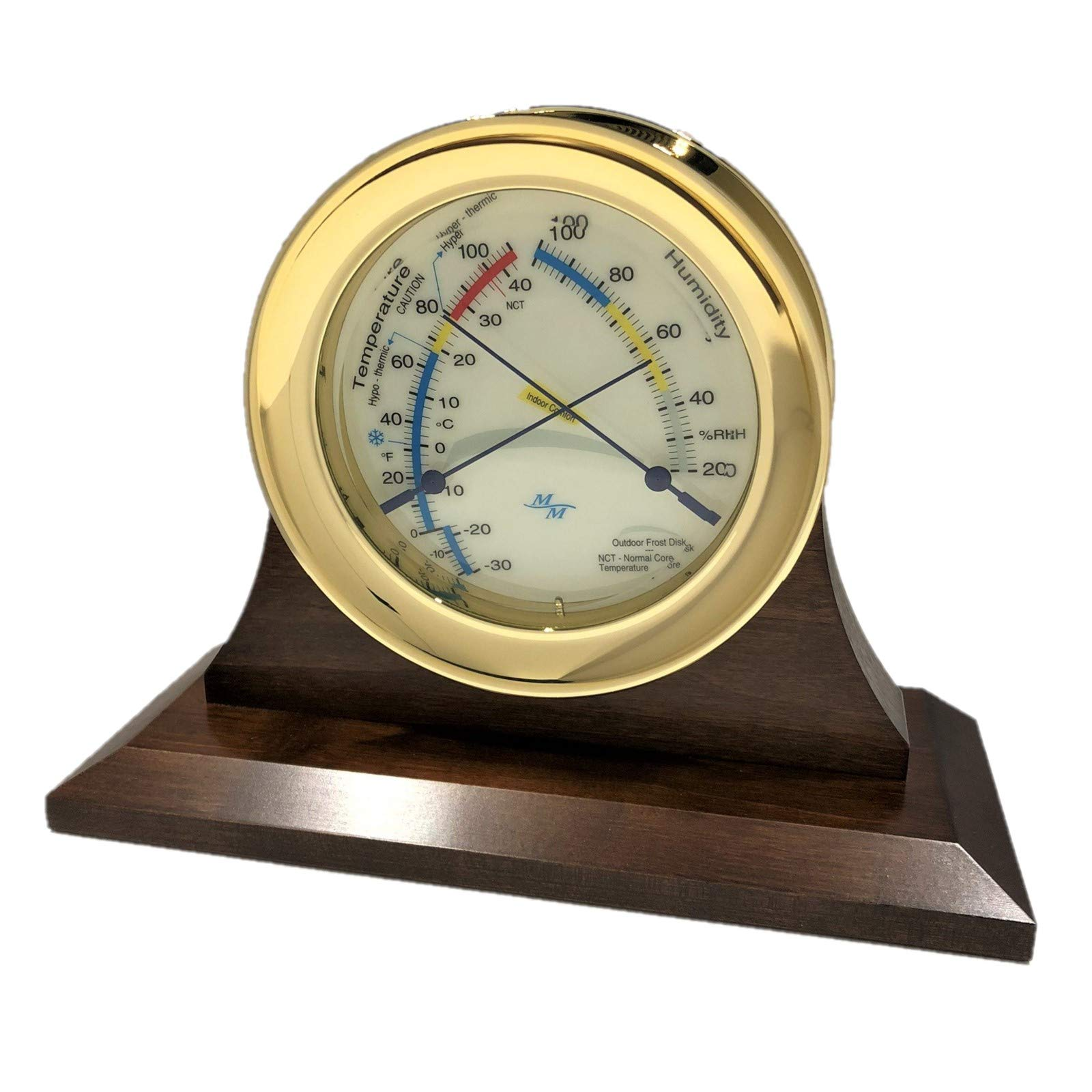 """Master-Mariner American Voyager Collection, Nautical Windlass Comfort Meter, 5.85"""", Gold Finish, Ivory Signal Flag dial and Single Cradle Base, Walnut Finish with Silvertone and Goldtone Nameplates"""