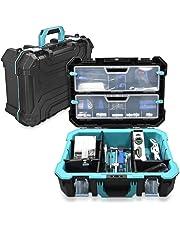 Navaris caja de herramientas de plástico - Organizador de herramienta con protección antigolpes - Maletín para
