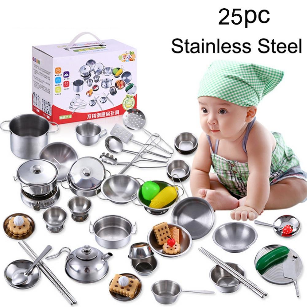 Livoty 25 Pcs Set Kids Play House Kitchen Toys Cookware Cooking Utensils Pots Pans Gift (Silver)