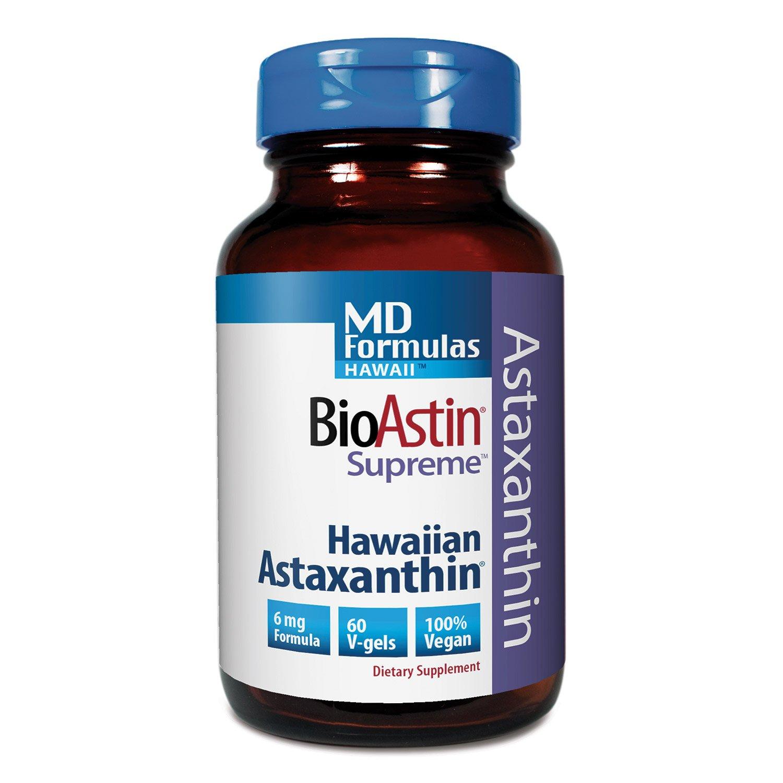 BioAstin Hawaiian Astaxanthin – MD Formulas BioAstin Supreme - 6 mg 60 VEGAN soft gels – Supports Joint, Skin, Eye Health Naturally – A Super-Antioxidant Grown in Hawaii