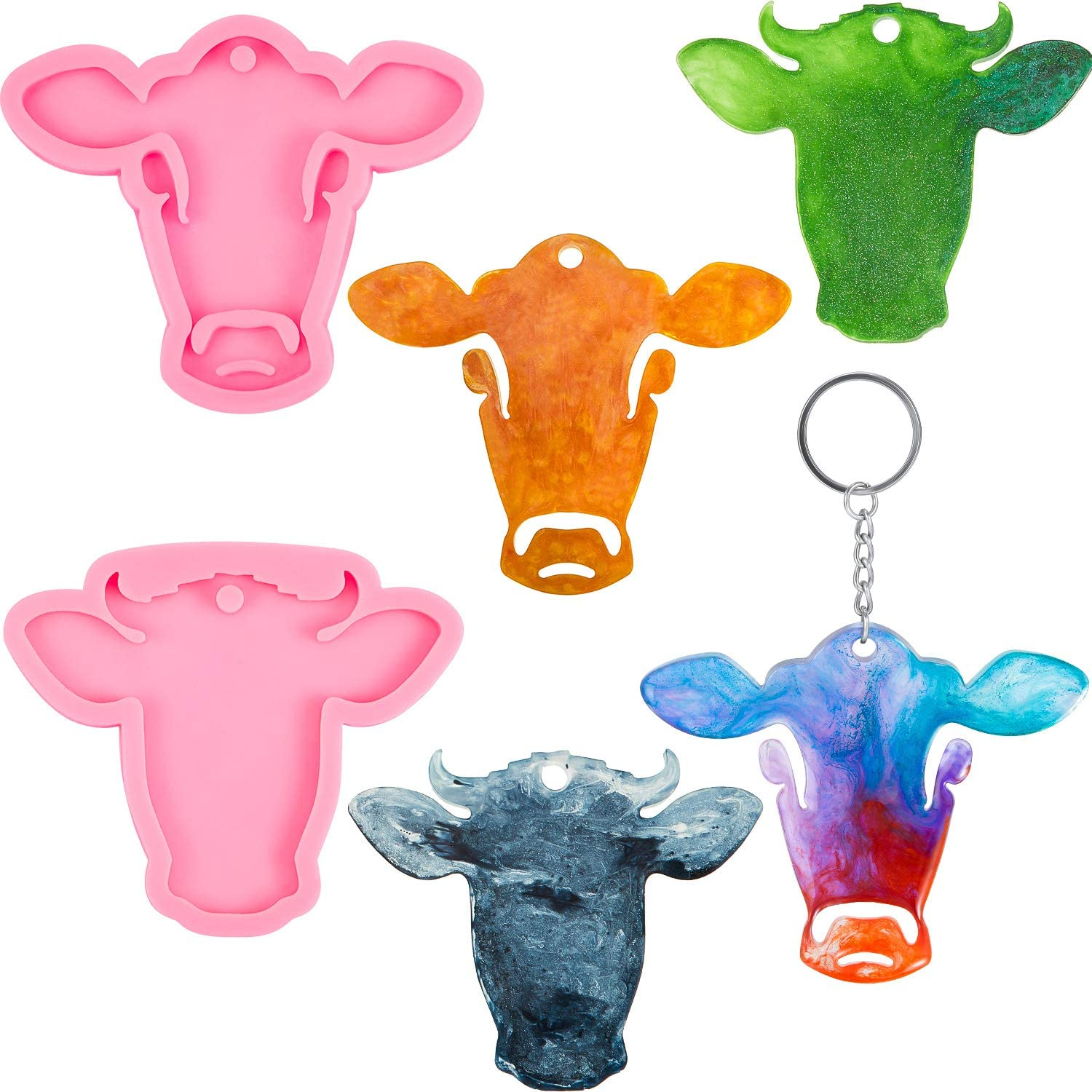 Cow tag silicone molds,Cow Tag Shiny Pink Silicone Key Chain Mold,3d Silicone fondant mold Design Mold,DIY Keychain,Custom Keychain