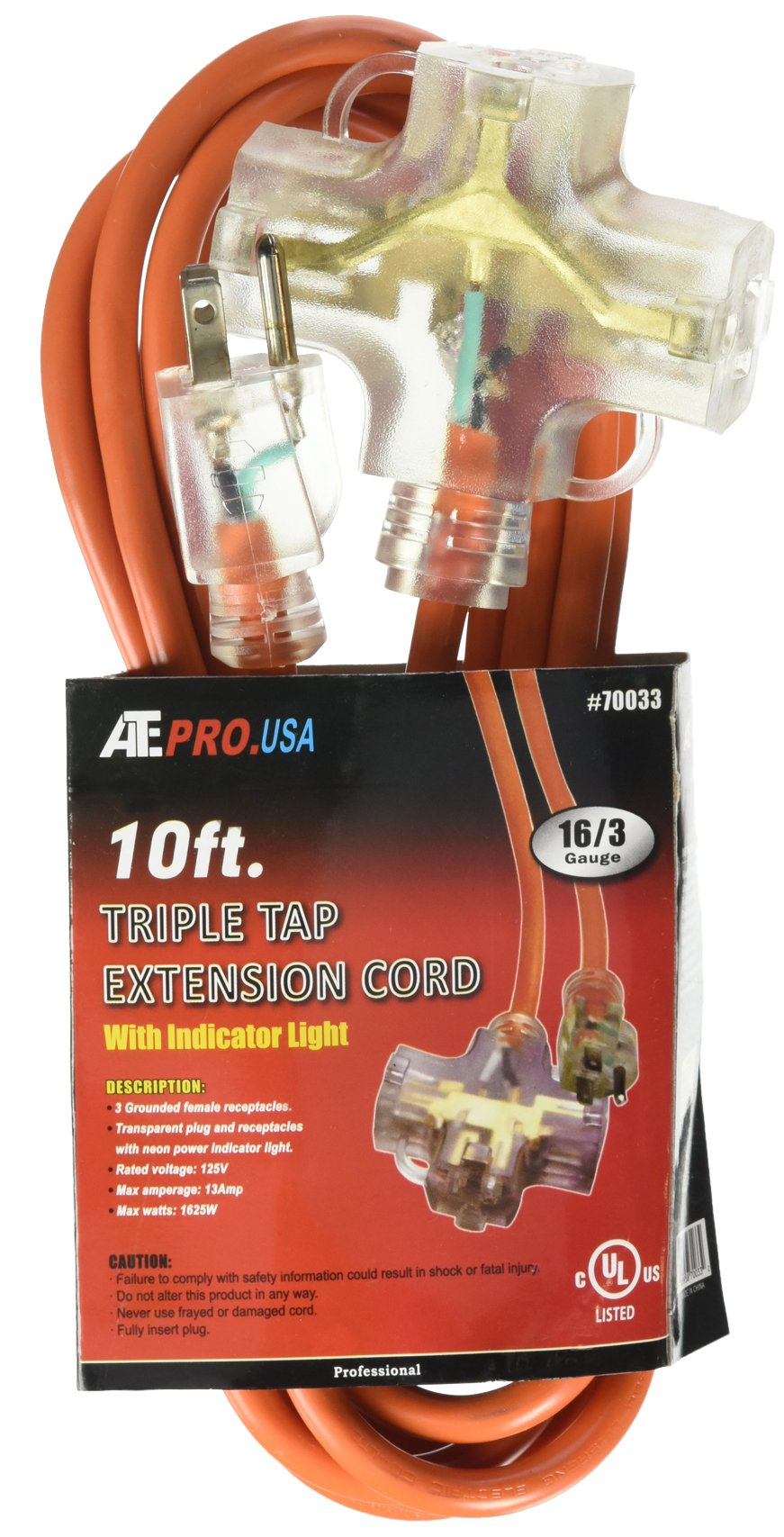 ATE Pro. USA 70033 Extension Cord, 10', 16 Gauge, 3-Prong