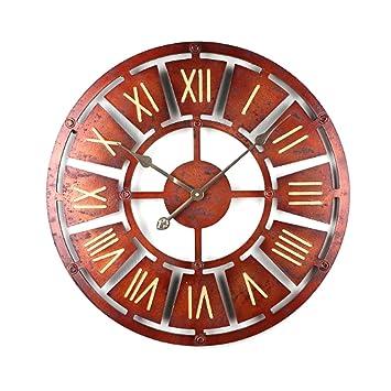 Mecotech Reloj Pared Vintage, 40cm Grande Madera Silencioso Reloj de Pared para Cocina: Amazon.es: Hogar