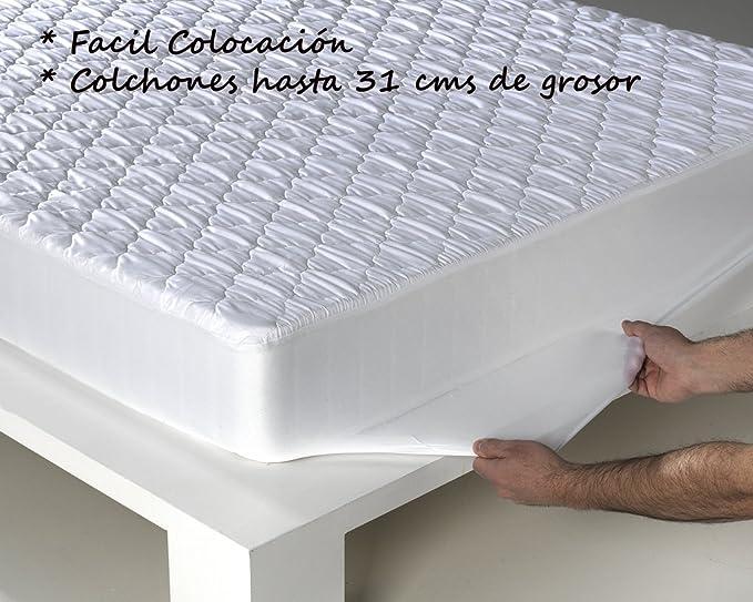 SABANALIA Protector de colchón Acolchado, Blanco, Cama 200-200 x 200 + 31: Amazon.es: Juguetes y juegos