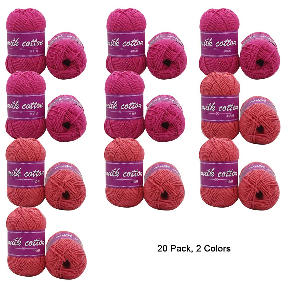 A 20 Pack Soft Yarn for Crochet Knitting and Crafting Milk Cotton, 1000G Total,D