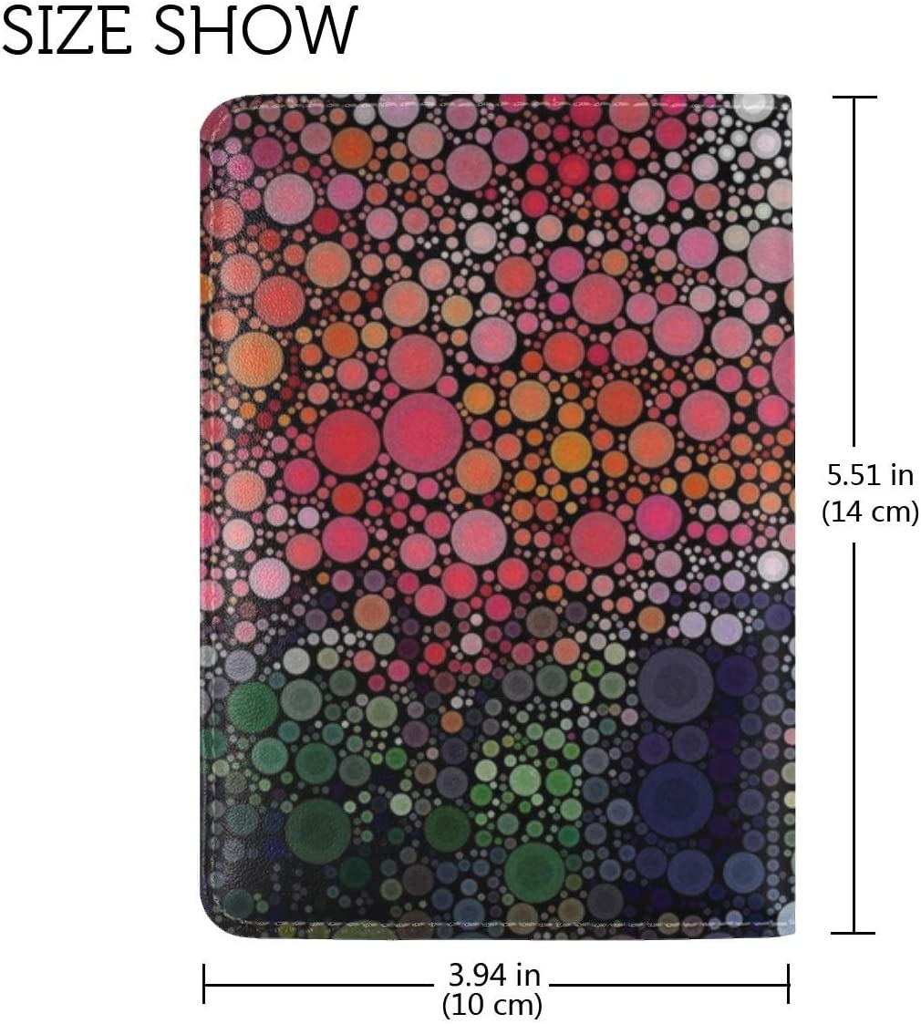 JiaoL Circles Colorful Texture Leather Passport Holder Cover Case Travel One Pocket