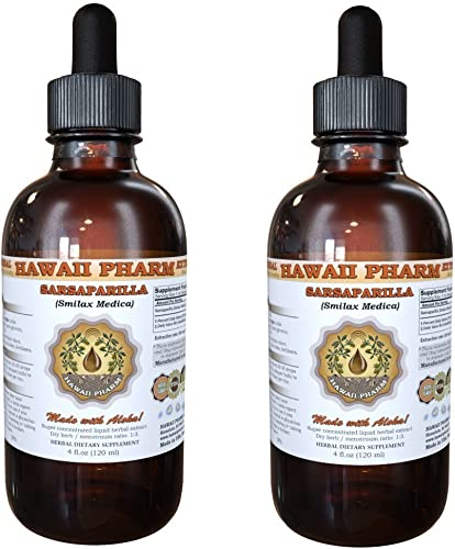 Sarsaparilla Liquid Extract, Sarsaparilla Smilax Medica Root Powder Tincture, Herbal Supplement, Hawaii Pharm, Made in USA, 2×4 fl.oz
