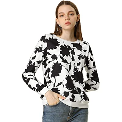 Allegra K Women's Floral Print Sweatshirt Long Sleeve Casual Pullover Shirt Top at Women's Clothing store