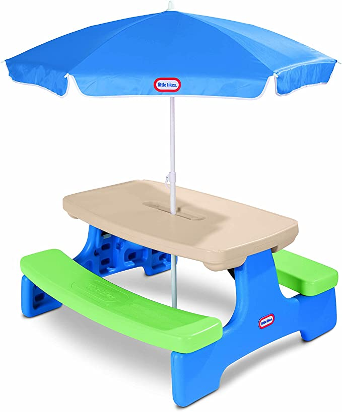 Picnic Table With Umbrella - Best For Toddlers