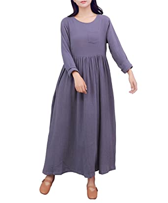 c1e9f8659f9 YUHEYUHE Women s Casual Long Sleeves Spring Fall Soft Tunics Cotton Linen  Maxi Dress Grey
