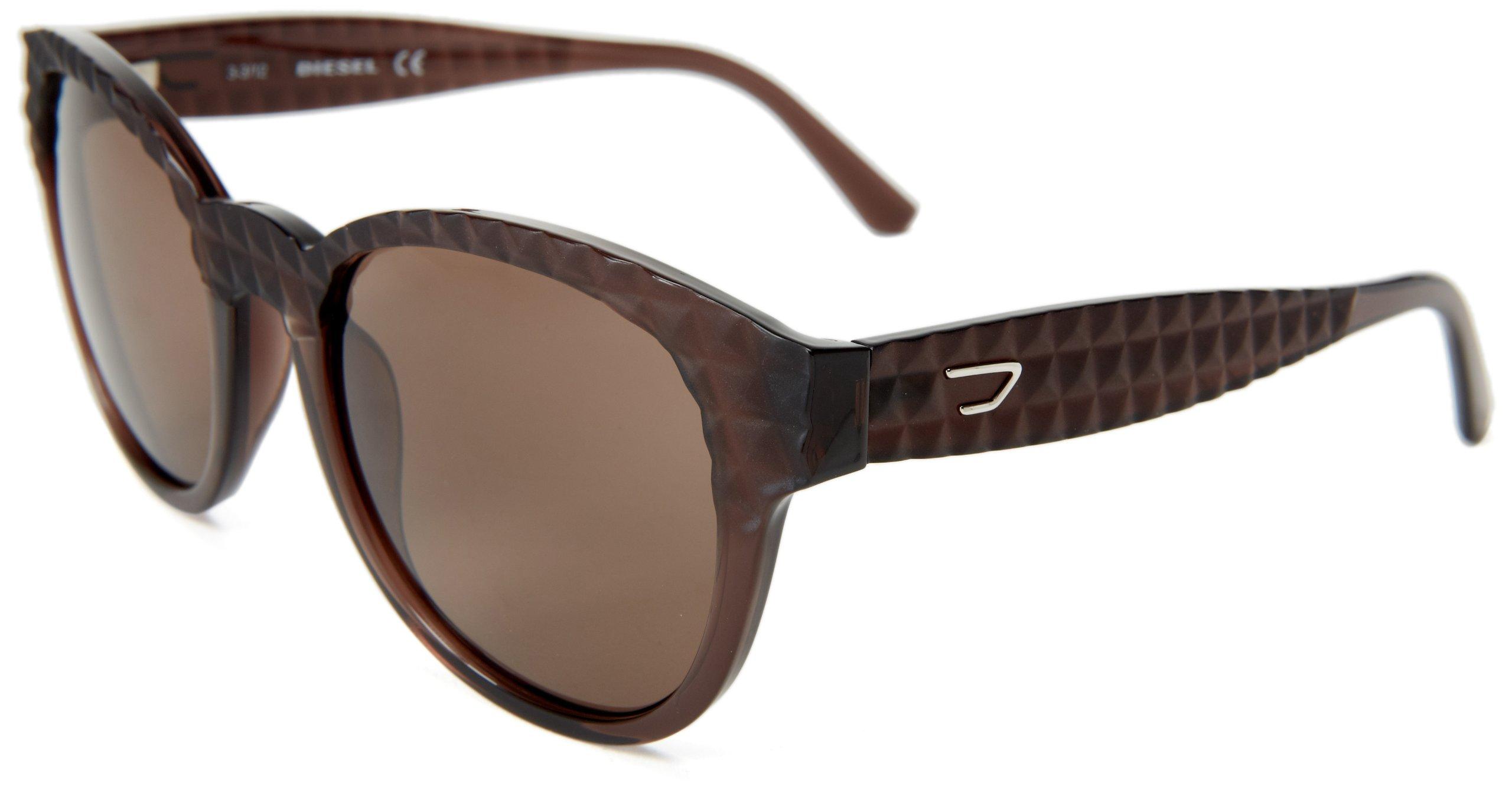 Diesel DL00455448E Round Sunglasses,Brown,54 mm