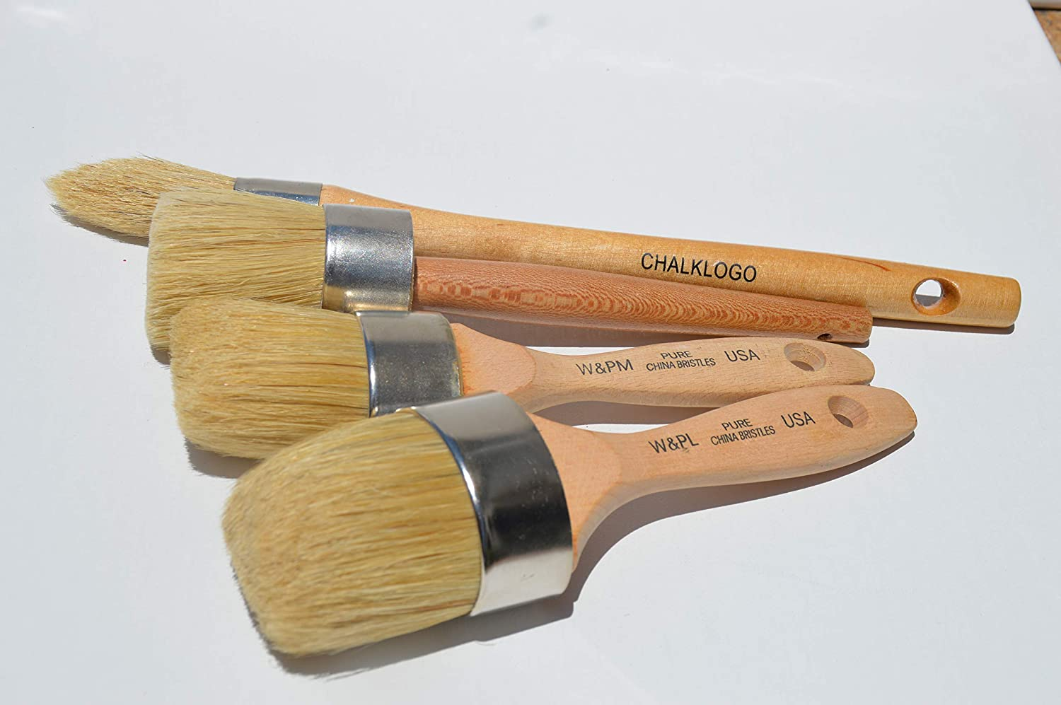 Chalkology Chalk wax and paint Bundle Chalk Master Set!!!! Large DIY Painting and Waxing Tool | Smooth, Natural Bristles | Folk Art, Home Décor, Wood Projects, Furniture, Stencils | Reusable