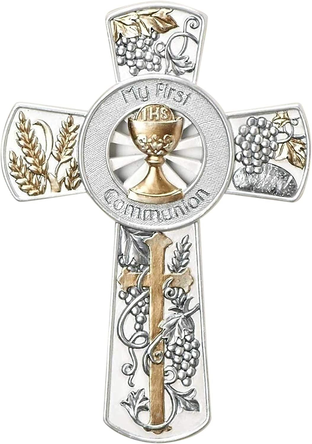 """8"""" Resin My First Communion Wall Cross with Gold and Silver Finish"""