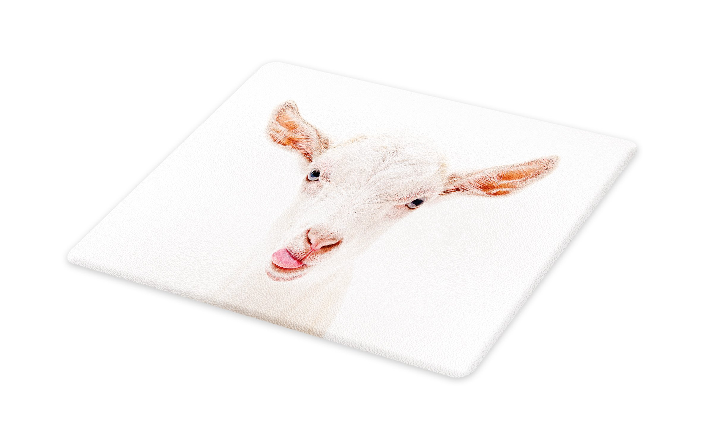 Lunarable Goat Cutting Board, Portrait of a Goat with Its Tongue Out Animal Photography White Furry Mammal, Decorative Tempered Glass Cutting and Serving Board, Large Size, Coral Pink White