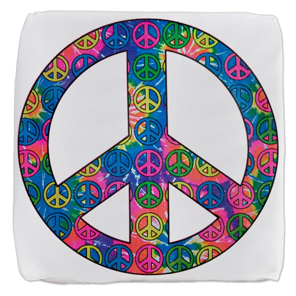 18 Inch 6-Sided Cube Ottoman Peace Symbols Inside Tye Dye Symbol by Royal Lion
