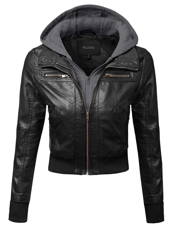 Plus4u Faux Leather Bomber Military Style Hooded Jacket Black Gray Size 1XL