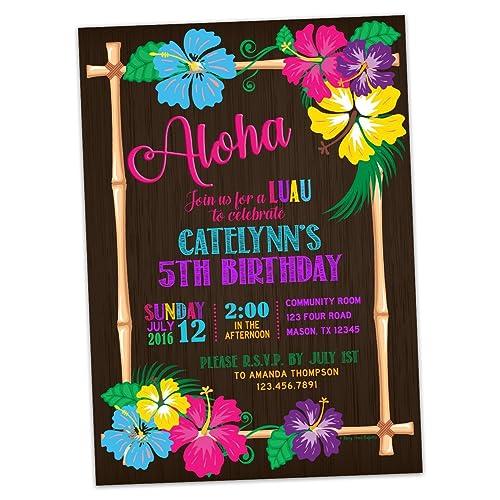 amazon com hawaii luau birthday invitations tropical party invite