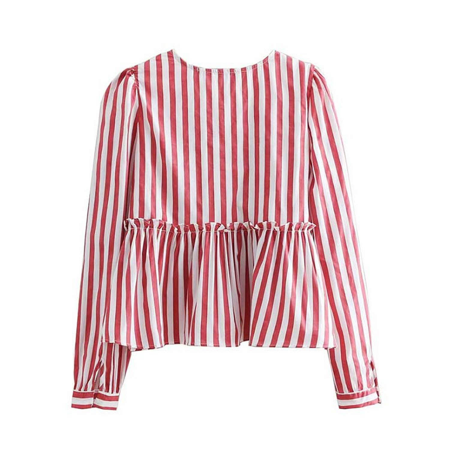 Women red Striped V Neck Blouse Ruffles Pleated Long Sleeve Female Casual Shirts Sweet Summer Tops Blusas