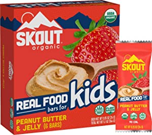 Skout Organic Peanut Butter & Jelly Real Food Bars for Kids (6 Pack) | Organic Snacks for Kids | Plant-Based Nutrition, No Refined Sugar | Vegan | Gluten, Dairy, Grain & Soy Free