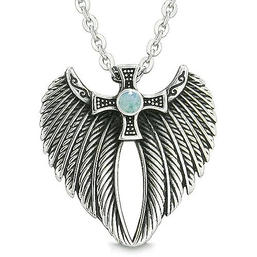 Angel Wings Celtic Viking Cross Magic Powers Amulet Green Quartz Pendant 22 inch Necklace