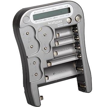 Kraftmax - Dispositivo comprobador universal de batería y cargador con pantalla LCD, nueva versión MW333 / LX5900 con pilas de botón