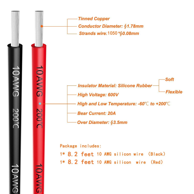 10 Gauge Silikon Draht 5 Meter (2,5 Meter Schwarz und 2,5 Meter Rot ...