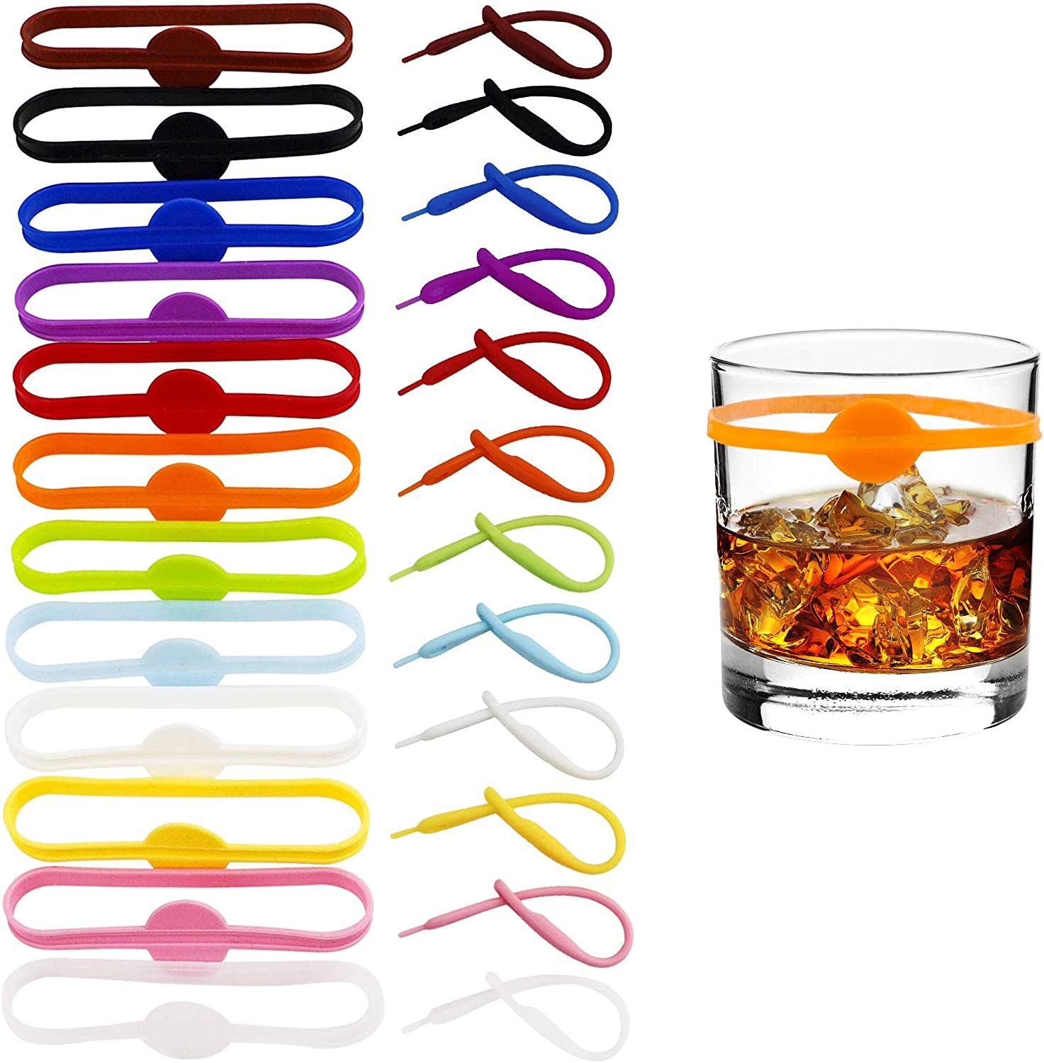 AWF Tomrrom 24Pcs Wine Glass Tag, Cocktail Drink Markers, Glass Tags, Suitable for Bottle Identification for Parties or Families