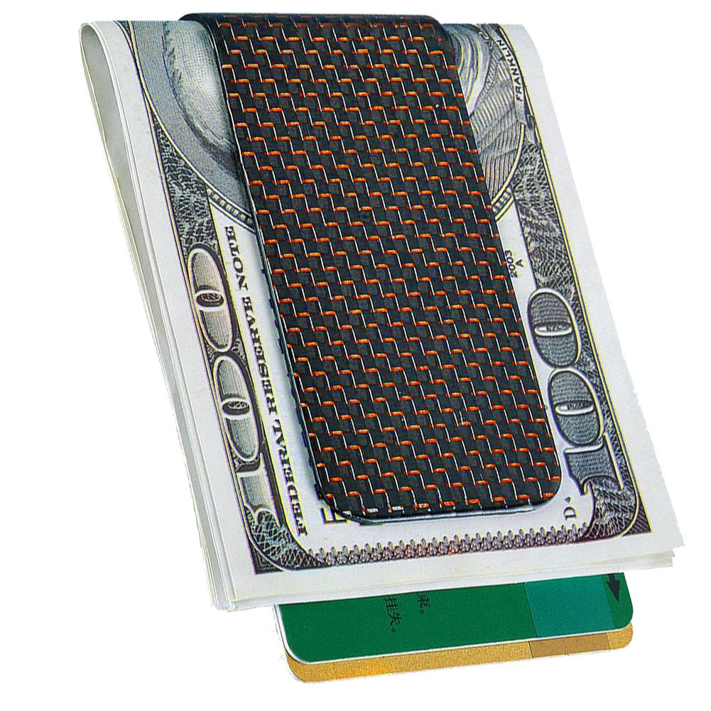 CL CARBONLIFE Herren Carbon-Faser-Brieftasche Geldklammer Kreditkarte H/ölder-Clips gro/ß Sliver