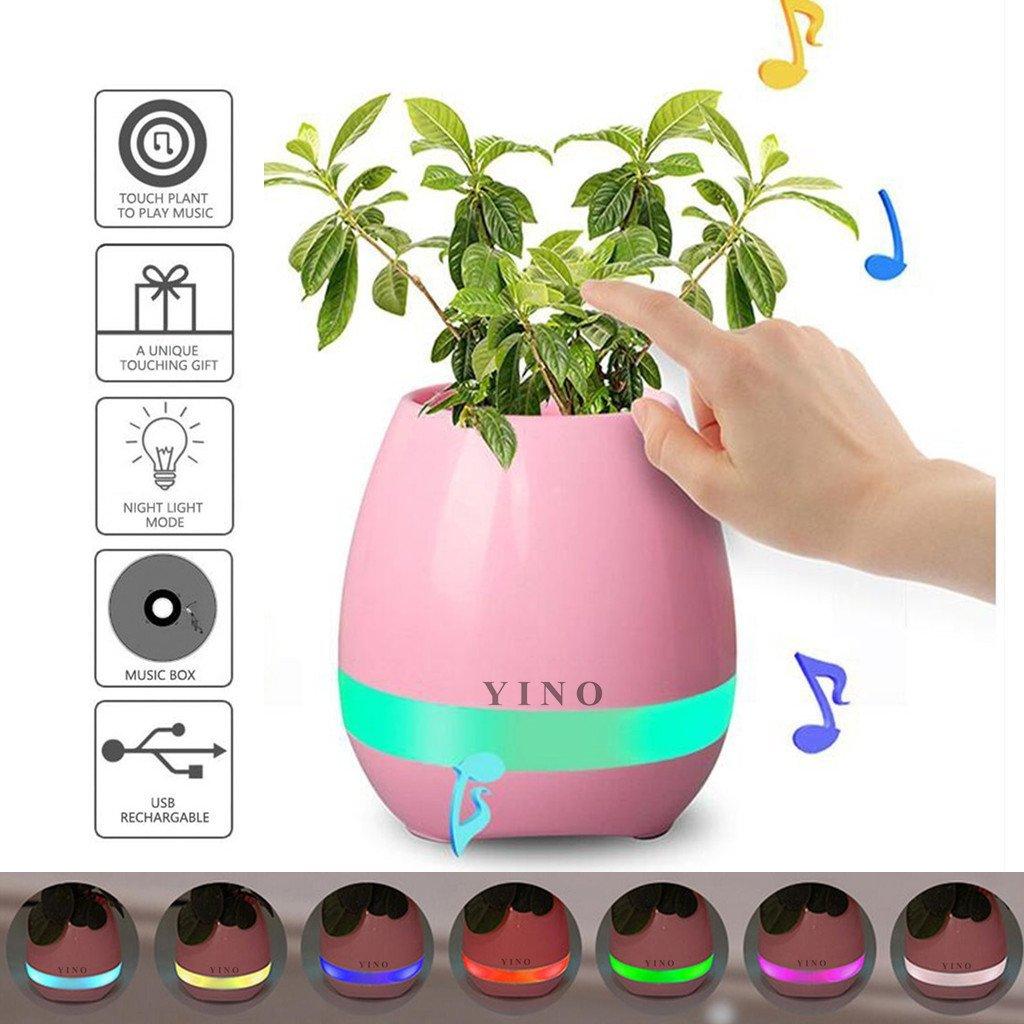 funzionamento touch come se si suonasse il piano Blue Vaso da fiori Bluetooth YINO altoparlante bluetooth ricaricabile luce notturna LED 7/colori