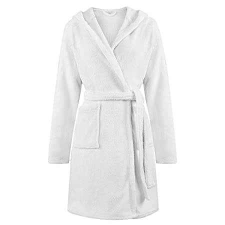 Coral Fleece Hooded Bath Robe/Dressing Gown for Women Knee Length ...