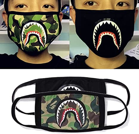 New Bape Bathing Ape Aape Shark Black Unisex Camouflage Mouth Face Mask Cotton