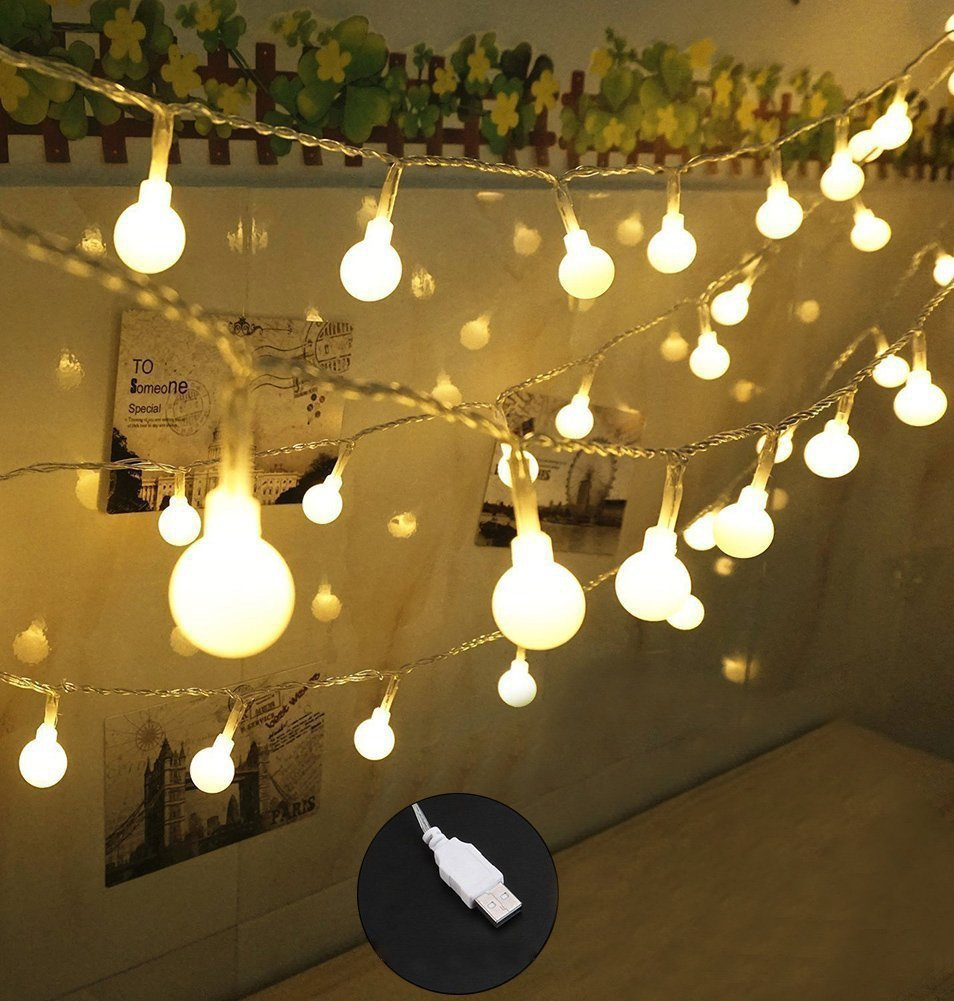 100 LED Globe String Lights, Ball Christmas Lights, Indoor / Outdoor Decorative Light, USB Powered, 39 Ft, Warm White Light - for Patio Garden Party ...