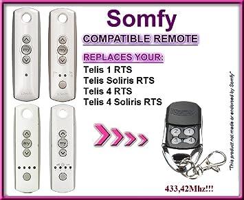 Somfy Télécommande De Remplacement Pour Telis 1 Rts Telis Soliris Rts à 4 Canaux 433 42 Mhz à Code Roulant