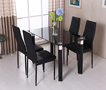 OSPI Black Tempered Glass Dinner Table U0026 Leather Cover Chairs Sets  1 Table  With 4