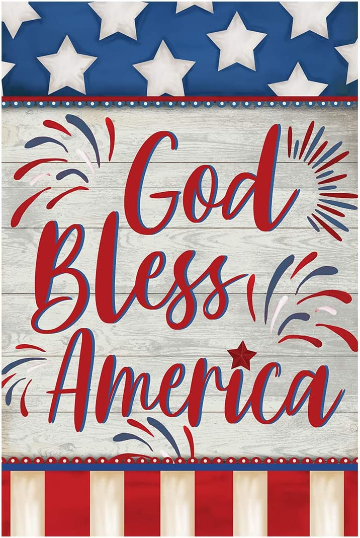 Morigins God Bless America 4th of July Garden Flag Double Sided Patriotic Strip and Star American Flag Independence Day Yard Outdoor Decoration 12.5 x 18 Inch