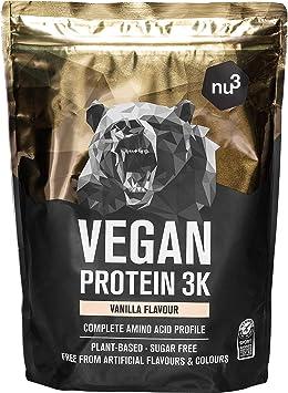 Batidos de proteínas veganas - Vegan protein 3K en polvo - de 3 componentes vegetales (guisante, girasol & arroz) - 1 Kg sabor vainilla - Para ...