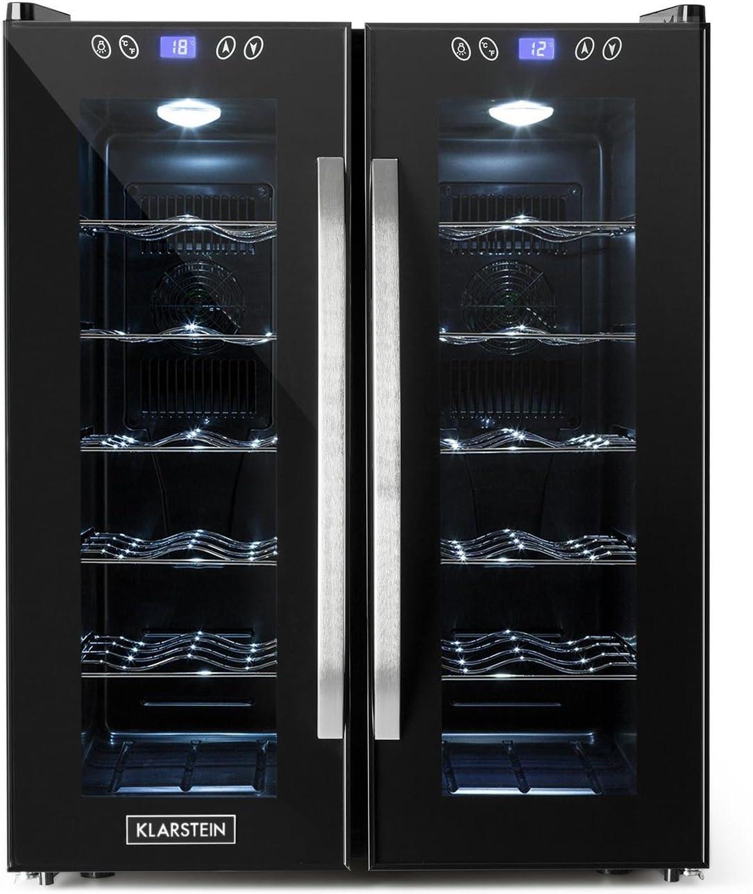 Klarstein SaloonNapa - Nevera para vino, Nevera para bebidas, Muy silenciosa, 10 Estantes, Temperatura: de 11 °C a 18 °C, 67 litros de volumen, 24 botellas de vino, Negro