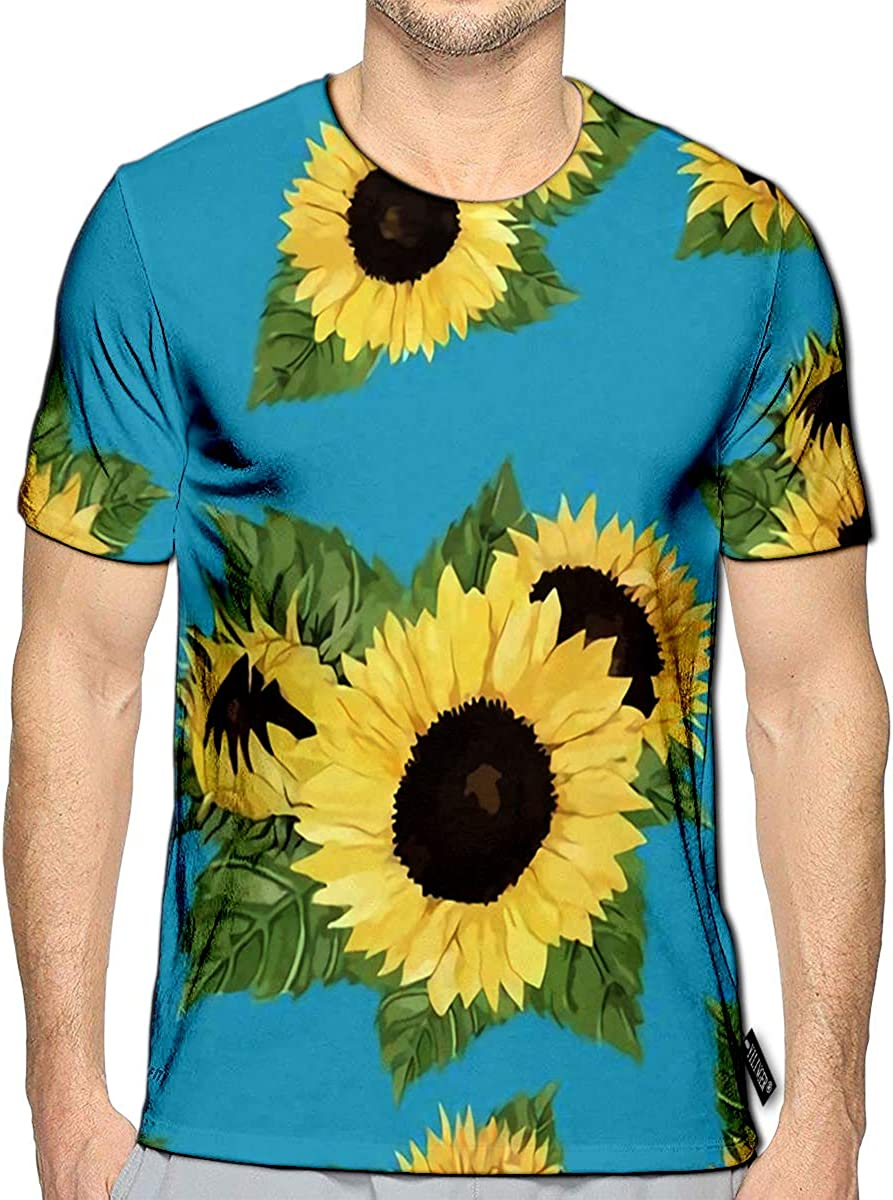 YILINGER 3D Printed T Shirts Sunflower Casual Mens Hipster Top Tees