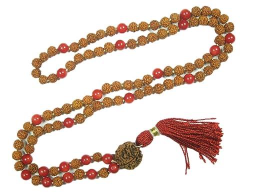 Amazon.com: Mala Beads Coral Rudraksha Yoga Meditation ...