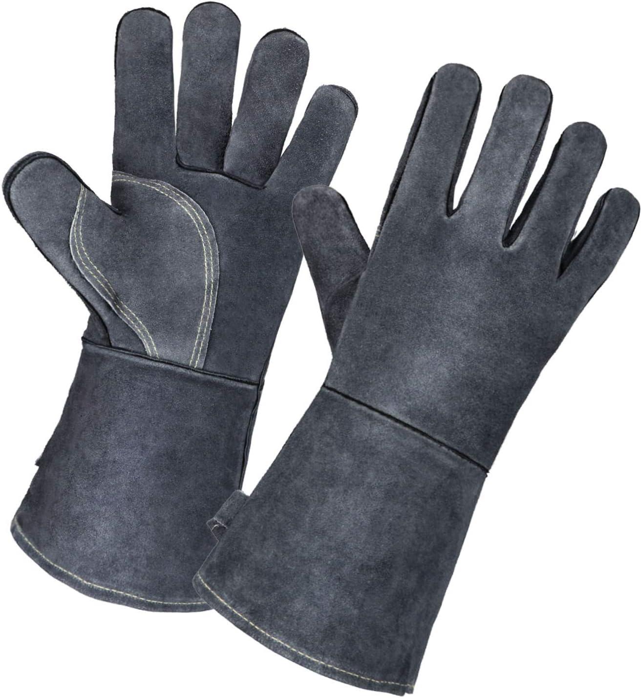 "Welder Gloves 14/"" Gray Leather Cowhide Protect Welder Hands BBQ Brick oven Glove"