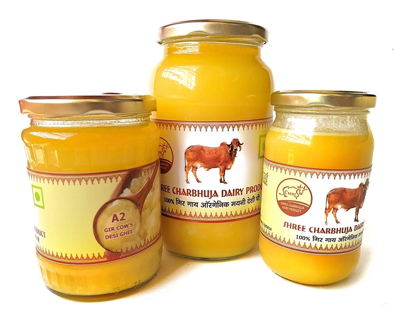 Organic A2 Indian Gir Breed Cow 's Vedic Bilona Ghee - Pack of 3 - 1833 ml (1000ml x 1 , 500ml x 1 , 333ml x 1) By Shree Charbhuja