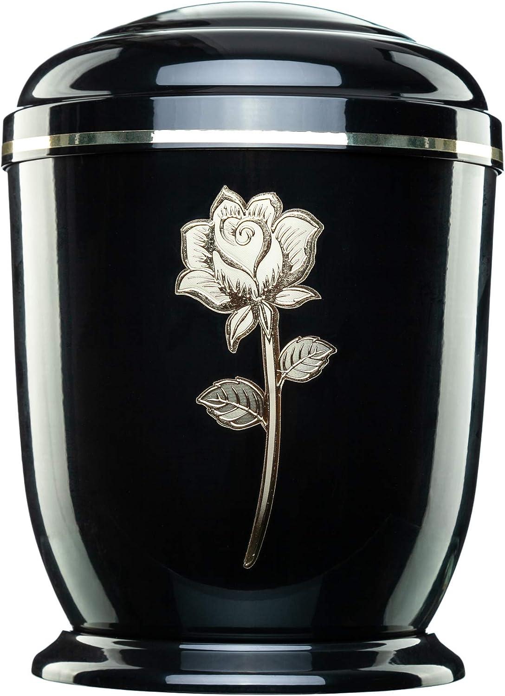 Jager Urna Urns for Ashes Adult Large Cremation Funeral Human Remains Rose Memorial Metal Gold Black