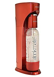 "Drinkmate 410-03-00 Carbonated Beverage Without CO2 Cylinder (Metallic Red) Soda Maker, 8"" L x 5"" W x 16"" H,"
