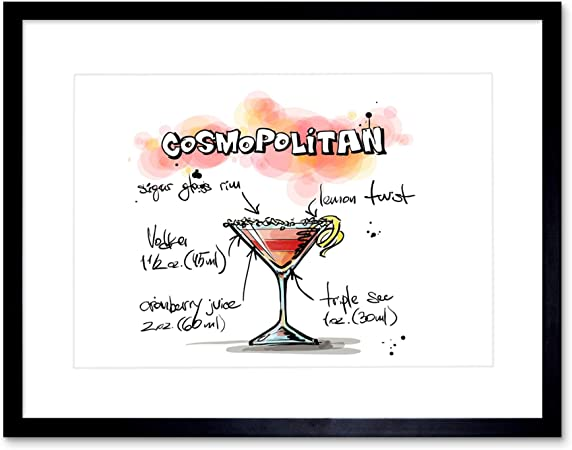 Wee Blue Coo Painting Alcohol Cocktail Recipe Cosmopolitan Black Framed Art Print B12x13480 Amazon Co Uk Kitchen Home