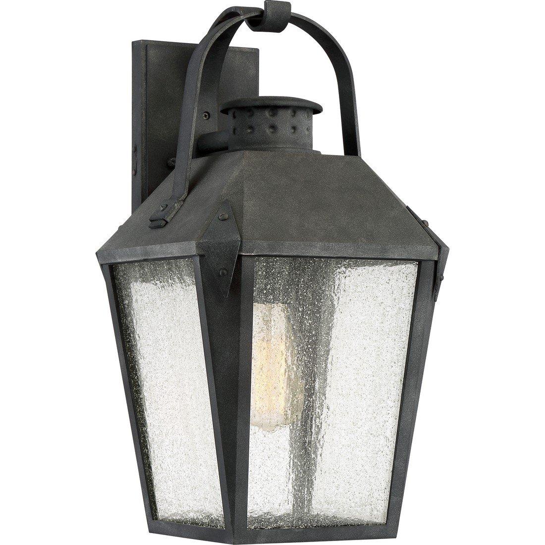 Quoizel One Light Outdoor Wall Lantern CRG8410MB, Large, Mottled Black