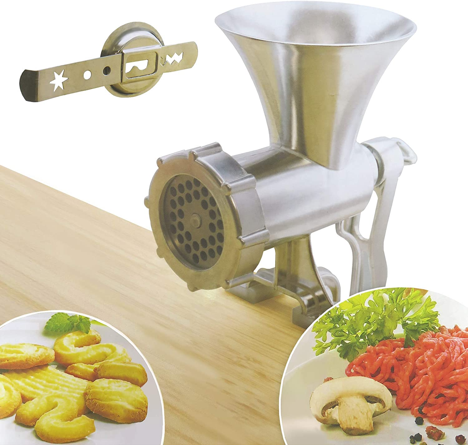 Tredoni Desk Mounted Manual Meat/Vegetable Mincer Grinder, Aluminum Biscuit Machine Cookie Maker