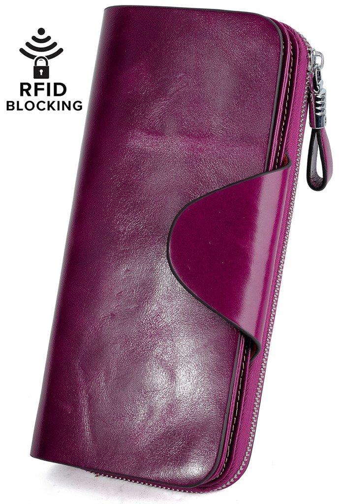 YALUXE Women's RFID Blocking Large Tri-fold Leather Wallet Ladies Luxury Zipper Clutch Fuchsia by YALUXE (Image #2)