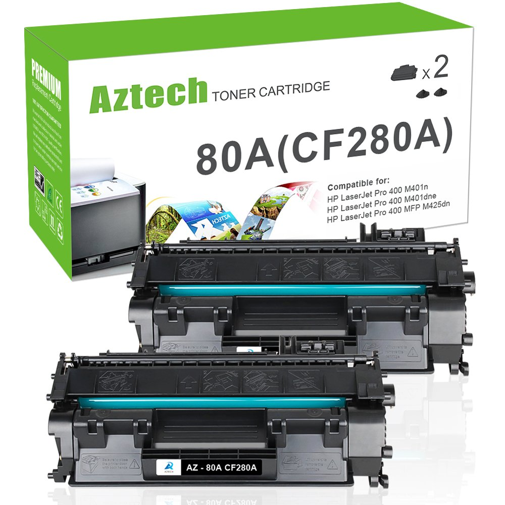 Aztech Compatible Toner Cartridge Replacement For Hp Laserjet 80a Cf280a 80x Cf280x Black 2 Packs